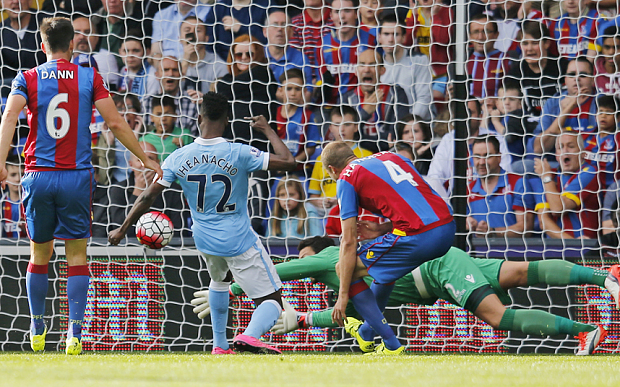 "Football - Crystal Palace v Manchester City - Barclays Premier League - Selhurst Park - 12/9/15  Kelechi Iheanacho scores the first goal for Manchester City  Action Images via Reuters / Paul Childs  Livepic  EDITORIAL USE ONLY. No use with unauthorized audio, video, data, fixture lists, club/league logos or ""live"" services. Online in-match use limited to 45 images, no video emulation. No use in betting, games or single club/league/player publications.  Please contact your account representative for further details."