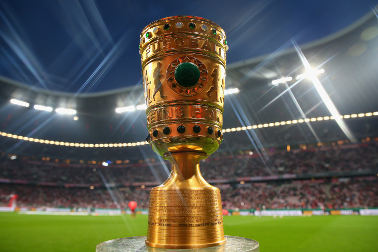 MUNICH, GERMANY - APRIL 16: (EDITORS NOTE: STAR EFFECT FILTER USED TO CREATE THIS PICTURE!) The DFB Cup trophy prior the DFB Cup Semi Final match between Bayern Muenchen and VfL Wolfsburg at Allianz Arena on April 16, 2013 in Munich, Germany. (Photo by Alexander Hassenstein/Bongarts/Getty Images)