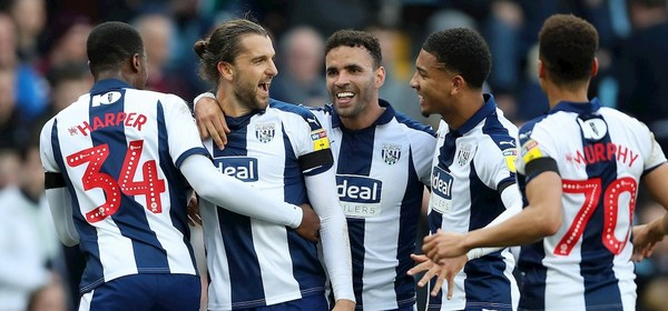 Jay Rodriguez of West Bromwich Albion celebrates after scoring a goal to make it 0-2