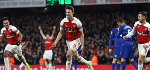 LONDON, ENGLAND - JANUARY 19:  Laurent Koscielny of Arsenal celebrates after scoring his team's second goal during the Premier League match between Arsenal FC and Chelsea FC at Emirates Stadium on January 19, 2019 in London, United Kingdom.  (Photo by Catherine Ivill/Getty Images)