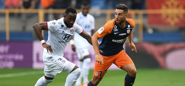 Jordan Ferri of Montpellier and Moussa Dembele of Lyon during the Ligue 1 match between Montpellier and Lyon at Stade de la Mosson on August 27, 2019 in Montpellier, France. (Photo by Alexandre Dimou/Icon Sport via Getty Images)