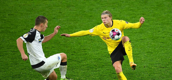 DORTMUND, GERMANY - FEBRUARY 02: Erling Haaland of Borussia Dortmund  during the DFB Cup Round of Sixteen match between Borussia Dortmund and SC Paderborn 07 at Signal Iduna Park on February 02, 2021 in Dortmund, Germany. Sporting stadiums around Germany remain under strict restrictions due to the Coronavirus Pandemic as Government social distancing laws prohibit fans inside venues resulting in games being played behind closed doors. (Photo by Frederic Scheidemann/Getty Images)