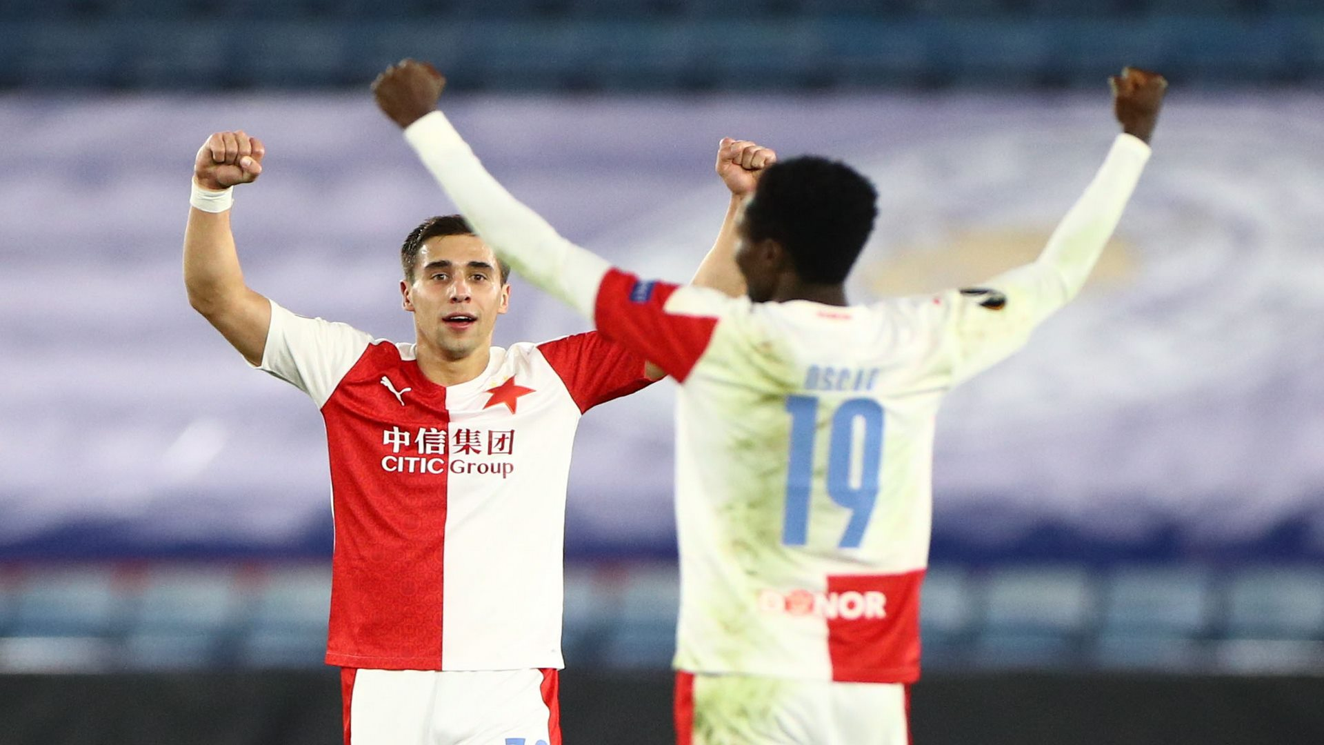 Soccer Football - Europa League - Round of 32 Second Leg - Leicester City v Slavia Prague - King Power Stadium, Leicester, Britain - February 25, 2021 Slavia Prague's Ondrej Lingr and Oscar Dorley celebrate after the match REUTERS/Hannah Mckay